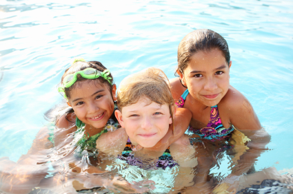 Kids swimming in pool, day trips